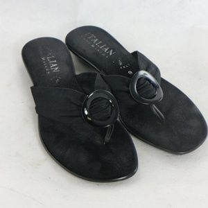 ITALIAN SHOEMAKERS Black Thong Style Sandals